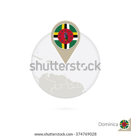 Dominical map and flag in circle. Map of Dominica, Dominica flag pin. Map of Dominica in the style of the globe. Vector Illustration. - stock vector