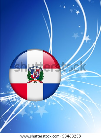Dominican Republic Flag Button on Abstract Light Background Original Illustration