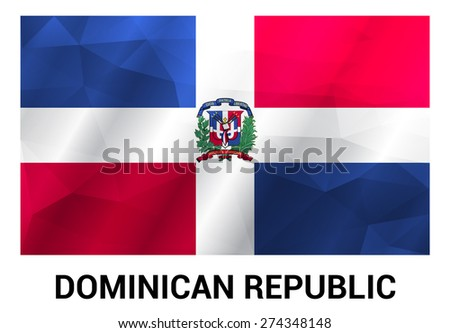 Dominican Republic Flag, geometric polygonal shapes. Vector illustration.