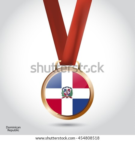 Dominican Republic Flag in Bronze Medal. Olympic Game Bronze Medal. Vector Illustration - stock vector