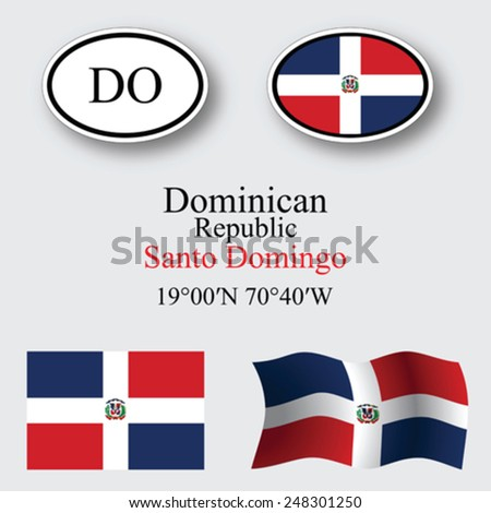 Dominican Republic icons set against gray background, abstract vector art illustration, image contains transparency - stock vector