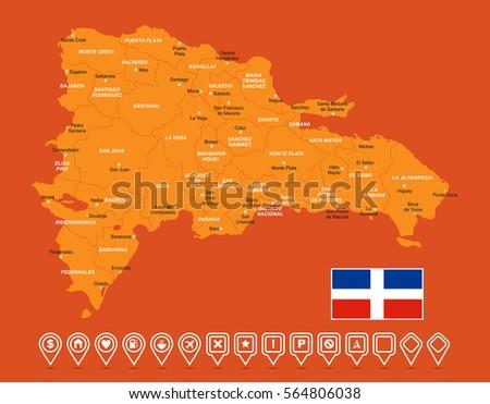 Dominican Republic Blue Map Stock Vector Shutterstock - Dominican republic map vector