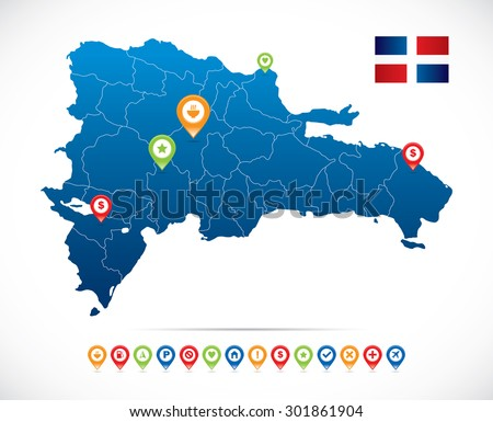 Dominican Republic Map with Navigation Icons - stock vector