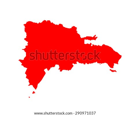 Dominican Republic vector map isolated on white background. High detailed silhouette illustration.