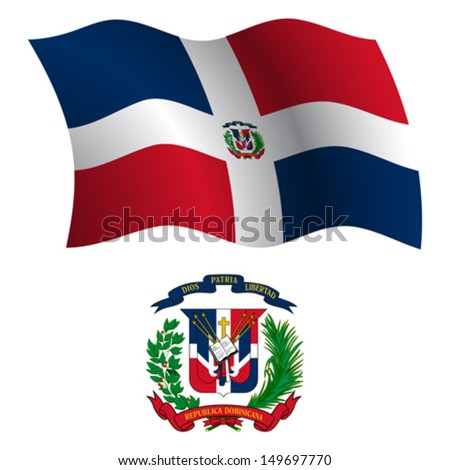 dominican republic wavy flag and coat of arms against white background, vector art illustration, image contains transparency - stock vector