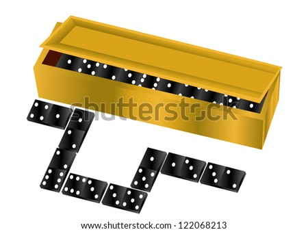 domino. box with dice isolated on white background