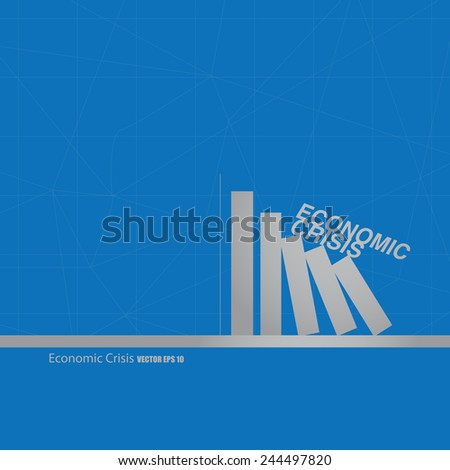 domino effect of economic on blue background - stock vector