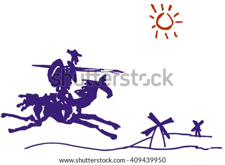 Don Quixote. Sketch ink. Don Quixote on a horse racing on the mill - stock vector