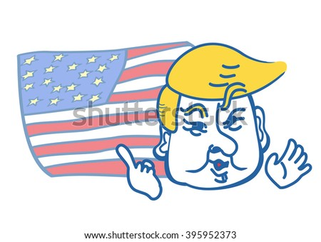 Donald Trump, republican presidential candidate ,Florida, United States - March 9, 2016.cartoon portrait with national flag