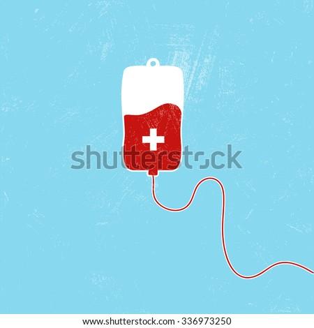 Donate blood bag on blue background. Vector illustration - stock vector