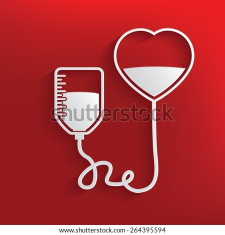 Donate blood design on red background,clean vector - stock vector