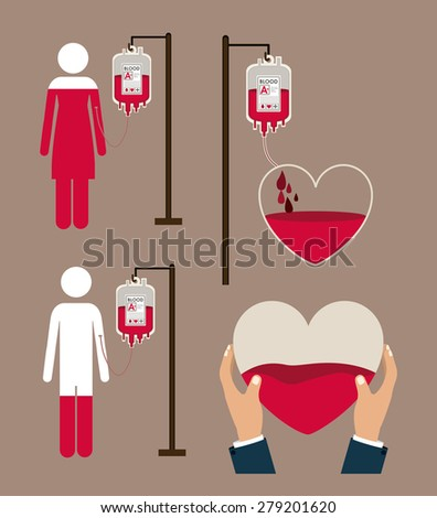 Donate Blood design over brown background, vector illustration - stock vector