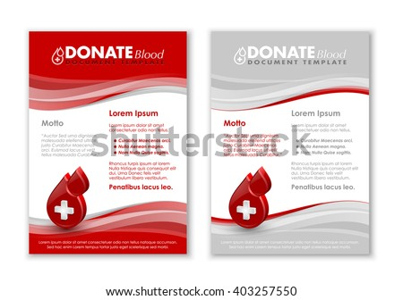Donate blood document templates with three dimensional glossy blood drop icon - stock vector
