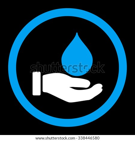 Donate Blood vector icon. Style is bicolor flat rounded symbol, blue and white colors, rounded angles, black background.