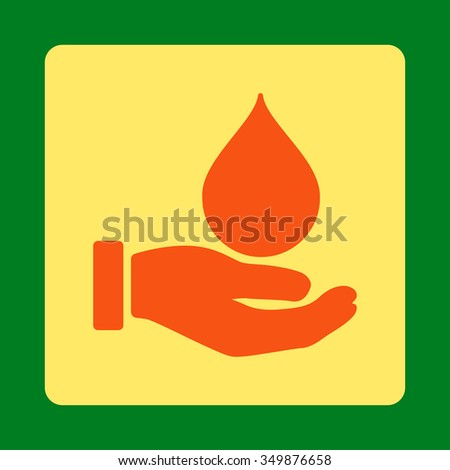 Donate Blood vector icon. Style is flat rounded square button, orange and yellow colors, green background. - stock vector