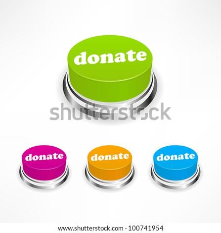 Donate button - stock vector