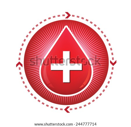 Donate drop blood red sign vector illustration - stock vector