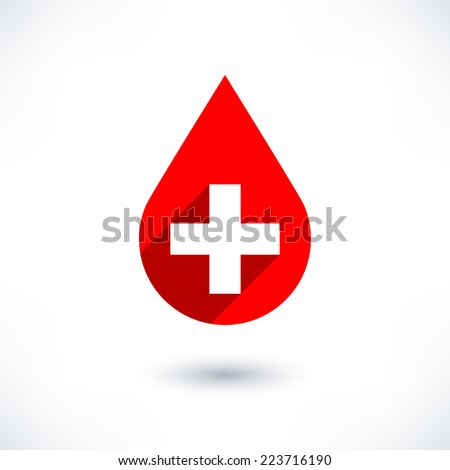Donate drop blood red sign with cross in flat long shadow style isolated on white background. Graphic design elements save in vector illustration 8 eps - stock vector