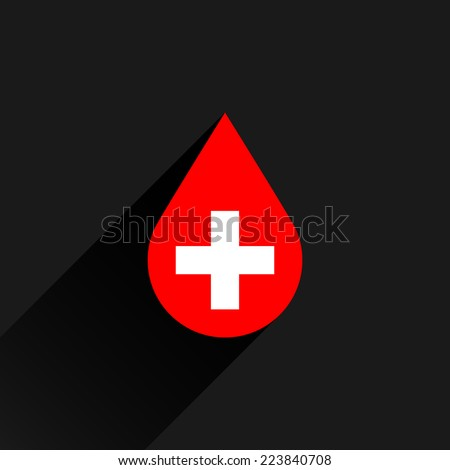 Donate drop blood red sign with white cross with black long shadow on dark gray background in simple flat style. Graphic design elements vector illustration save in 8 eps - stock vector