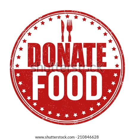 Donate food grunge rubber stamp on white background, vector illustration - stock vector