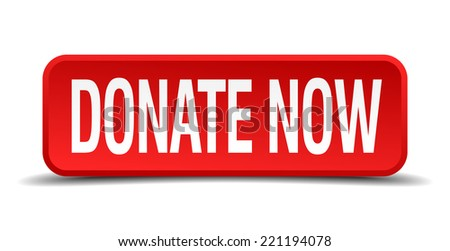 Donate now red 3d square button isolated on white background - stock vector