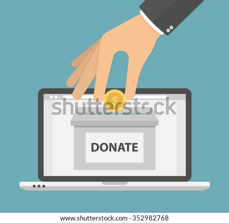 Donate online concept. Hand putting golden coin in to the donation box on a laptop pc display. Flat style - stock vector
