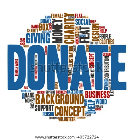 Donate ,Word cloud art  background