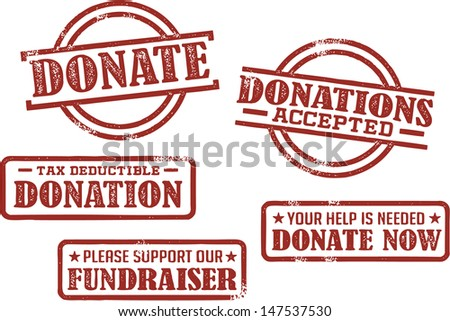 Donation and Fundraiser Stamps - stock vector