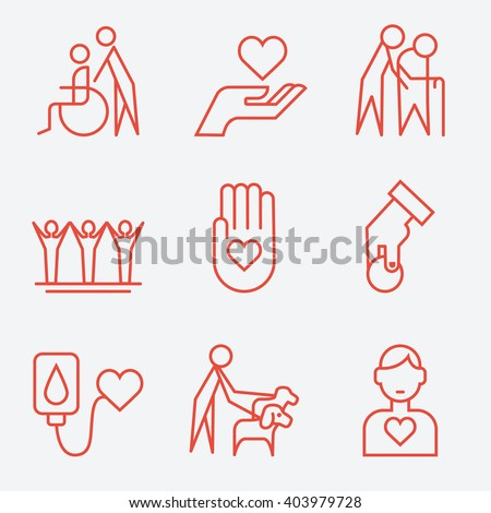 Donation and volunteer work concept icons, thin line style, flat design - stock vector