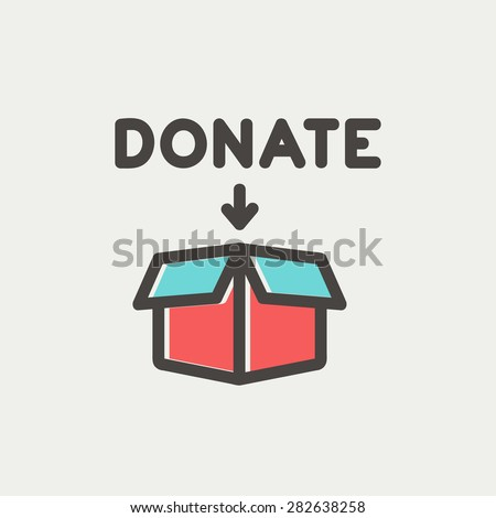 Donation box icon thin line for web and mobile, modern minimalistic flat design. Vector icon with dark grey outline and offset colour on light grey background. - stock vector