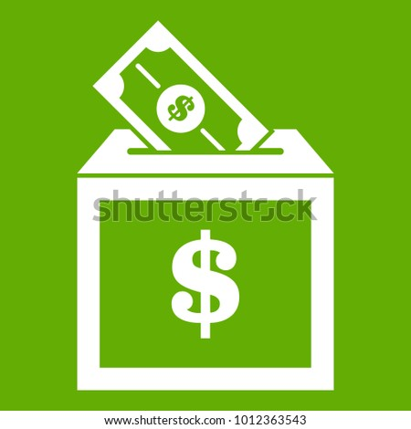 Donation box icon white isolated on green background. Vector illustration