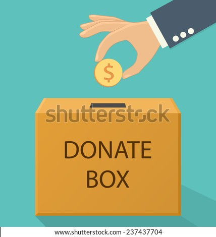 Donation concept. Hand putting coin in the donate box. Flat style - stock vector