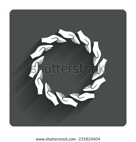 Donation hands circle sign icon. Charity or endowment symbol. Human helping hand palm. Gray flat square button with shadow. Modern UI website navigation. Vector