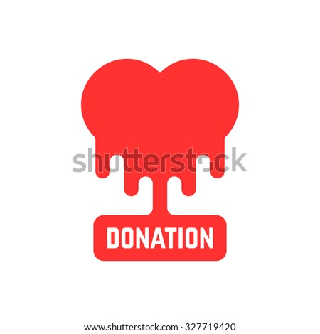 donation icon with bleeding heart. concept of philanthropy, foundation, humanism, laboratory hospital, volunteer. isolated on white background. flat style trend modern brand design vector illustration - stock vector