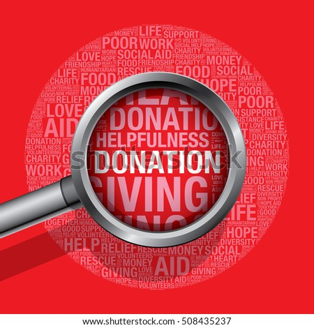 Donation in charity word cloud help concept, vector illustration