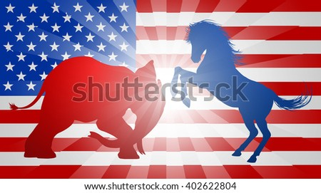 Donkey and elephant fighting in silhouette, with the elephant charging and the donkey rearing up.  Mascot American democratic and republican parties, concept for presidential election or politics - stock vector