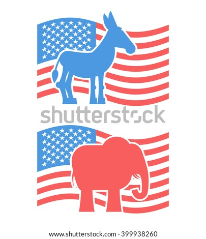 Donkey and elephant symbols of political parties in America. USA elections. Democrats against Republicans. Opposition to American policy. United States symbol of political debate - stock vector