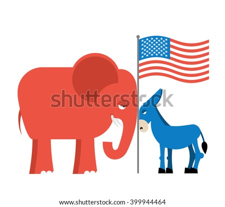 Donkey and elephant symbols of political parties in America. USA elections. Democrats against Republicans. Opposition to American policy.   - stock vector