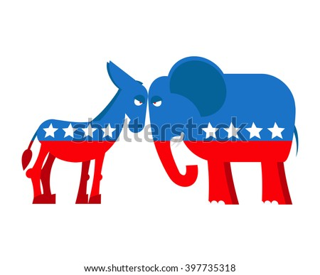 Donkey and elephant symbols political parties America. USA elections. Democrats against Republicans. Opposition American policy. democratic donkey and republican elephant. USA symbol political debate - stock vector