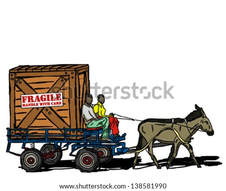 DONKEY CART CARRYING large CRATE - stock vector