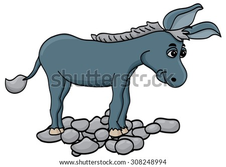 donkey cartoon - stock vector