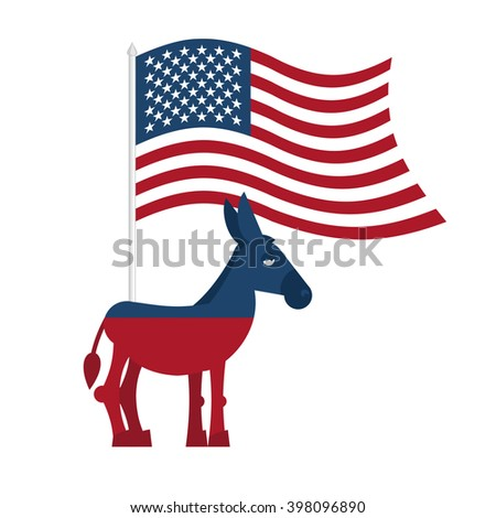 Donkey Democrat on white background. Symbol of political party in America. Political illustration for elections in United States. USA Flag