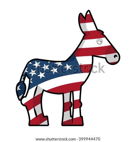 Donkey Democrat. Symbol of political party in America. USA Flag texture.  - stock vector