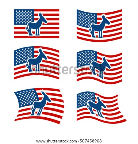Donkey Flag. Democrat National flag of presidential election in America. State symbol of United States political party
