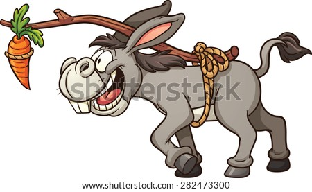 Donkey following a carrot tied to its back. Vector clip art illustration with simple gradients. All in a single layer. - stock vector