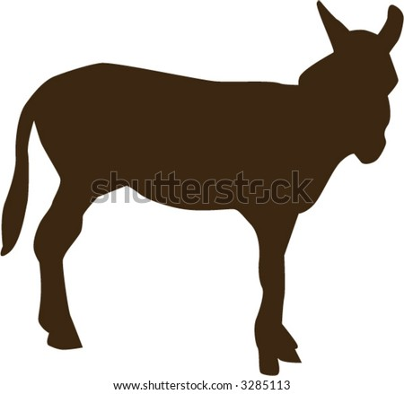 Donkey - fully editable vector drawing - stock vector