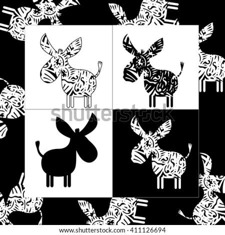 Donkey logo isolated - stock vector