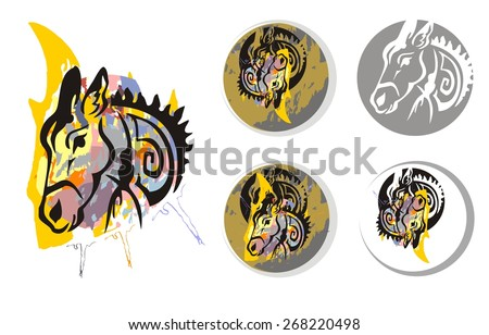 Donkey psychedelic splashes symbols. The head of a donkey with splashes. Donkey symbols in a circle  - stock vector
