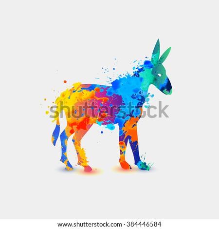 Donkey. Rainbow splash icon - stock vector