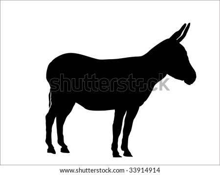 donkey silhouette - stock vector
